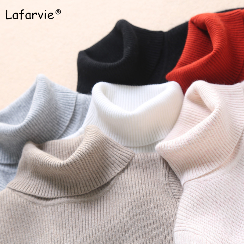 Lafarvie Autumn Winter Turtleneck Knitted Sweater Women Long Sleeve Slim Thick Warm Soft Flexible Quality Pullover Female Jumper in Pullovers from Women 39 s Clothing