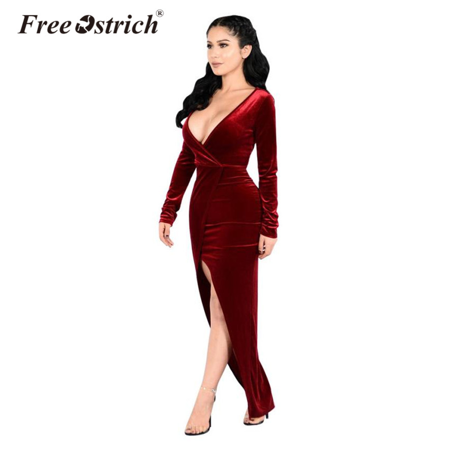 Free Ostrich Long Sleeve V Neck Sexy Club Women Dress Slim Bodycon Knitted Long Party Night Dresses B2440 choker neck ruffle bodycon dress short club dresses
