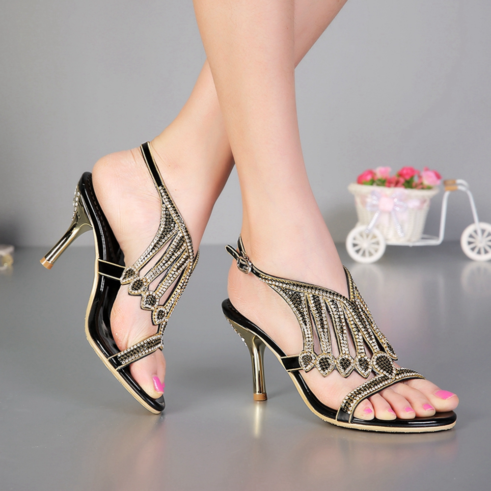 Und Heels Sexy Heels Für golden Heels black Wedges Sandalen Abendkleid Heels Schuhe Thin black golden Black Thick 2019 Frauen Wedges Bequeme Neue Mode silver XIggAq