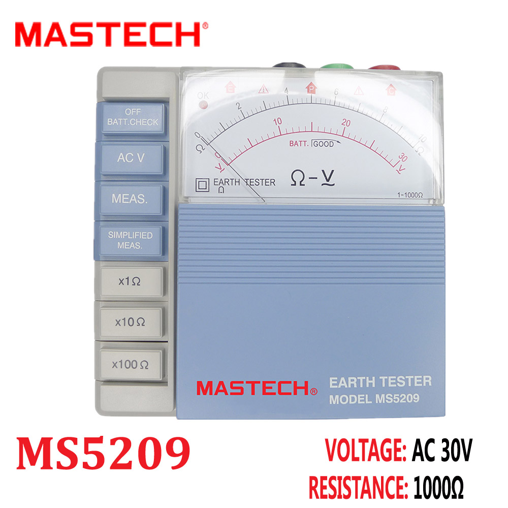 MASTECH MS5209 Earth Resistance Tester Megger Analog Low power Pointer Ground Meter Megohmmeter Diagnostic-tool 10ohm to 1000ohm  цены