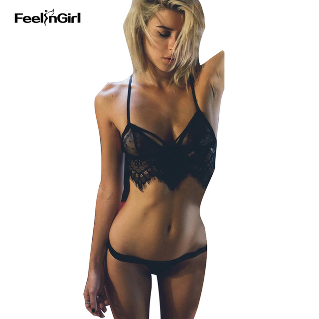 f0653b87 € 5.58 |FeelinGirl 2 Unidades de Encaje Lencería Sexy Encantador Bralette  Push Up Bra Bikini Lingerie Set Negro Lencería Erótica Porno Disfraces ...