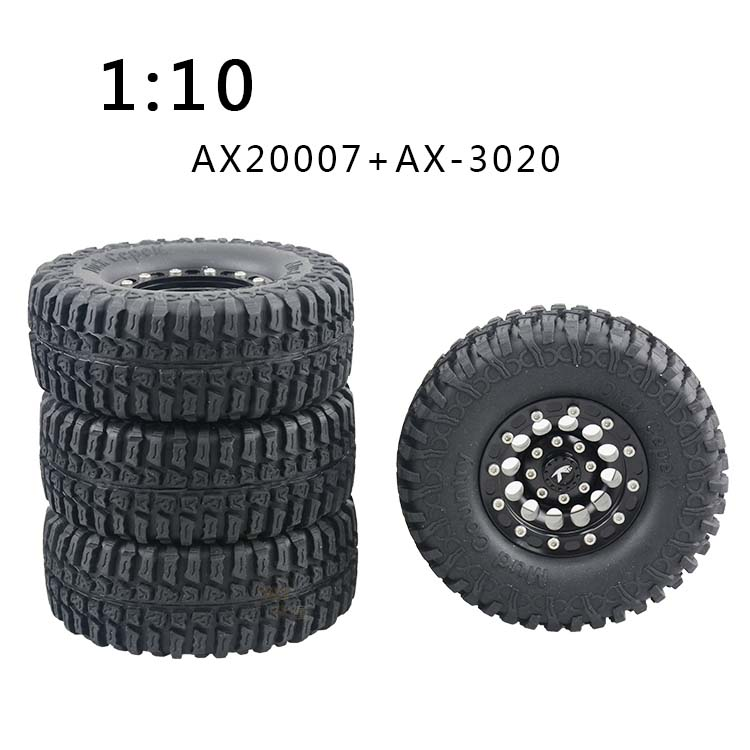 4PCS 1.9 Inch Wheel Tyre 105mm Black Rubber Tires On Off Road Grip Tire for 1:10 RC Rock Crawler Racing AX2007/AX3020/SCX10/AX10 4pcs rc crawler truck 1 9 inch rubber tires