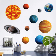 New 9 Planet Solar System Fluorescent Wall Stick The Universe Planet Galaxy Children Room Bedroom Luminous Wall Stickers