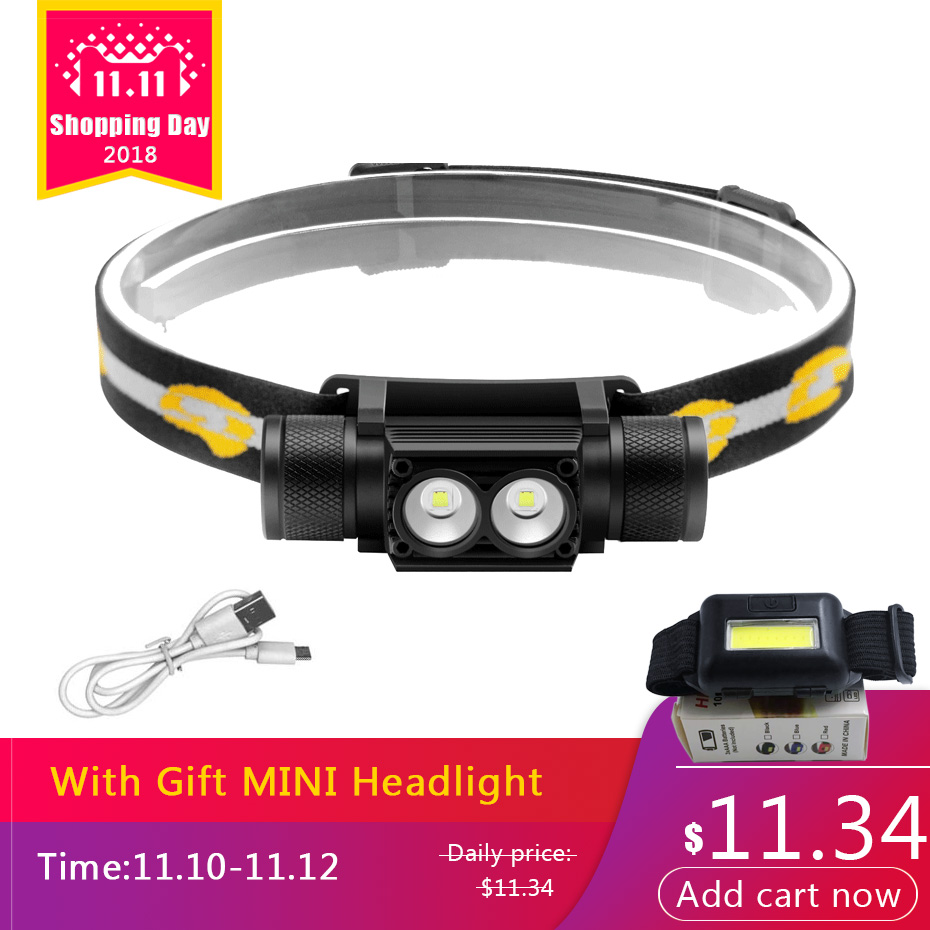 ANYIGE XM-T6 LED Headlight USB Rechargeable Headlamp XM-L2 Camping Flashlight Hunting Frontal Head Torch by 18650 Battery 30w led cob usb rechargeable 18650 cob led headlamp headlight fishing torch flashlight