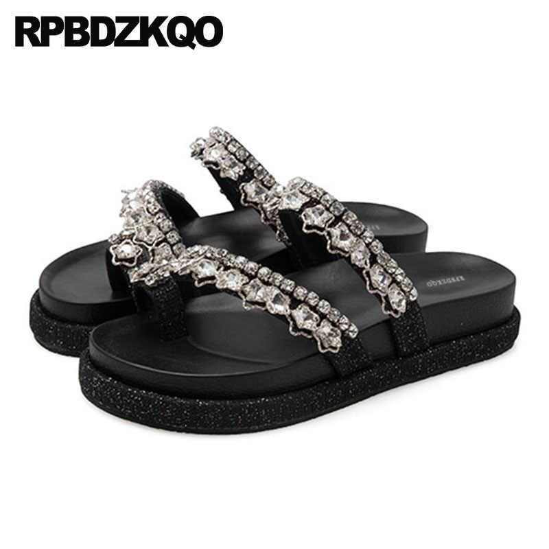 e9dc5a145f Rhinestone Shoes Slides Jewel Slippers Nice Black Strap Wide Fit Diamond  Crystal Flatform Women Wedge Platform Sandals Toe Ring