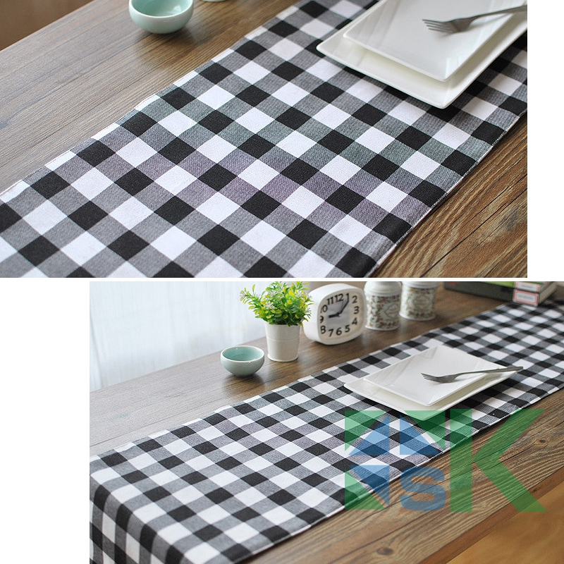 Marvelous European  Style Black White Plaid Table Runner Cotton Linen Table Cloth Table  Runner For Wedding