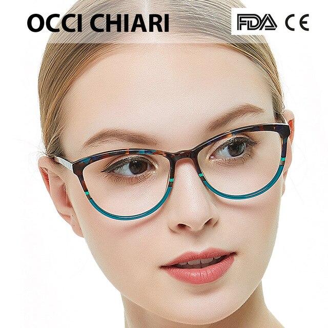 OCCI CHIARI איטליה עיצוב משקפיים נשים מסגרת משקפי מסגרת משקפיים Oculos סהרוני Gafas דמי צבע מתנה W CORSO