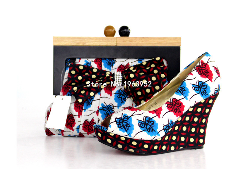 ФОТО 2016 High quality,Lowest price!Super wax print fabrics with shoes and bag for Free shipping Item NT06 size 38-41