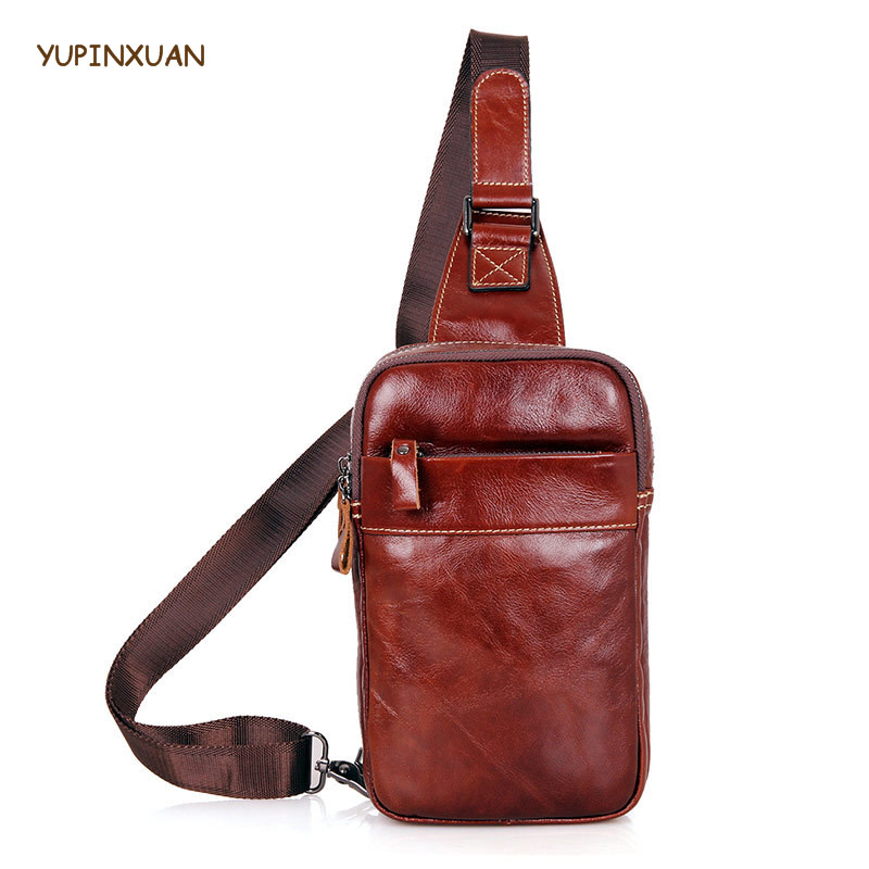 YUPINXUAN Mens Cow Leather Chest Bags Genuine leather Chest Packs Male Cowhide Messenger Bag Real Leather Shoulder Bags Casual yupinxuan vintage cow leather messenger bag for men luxury crocodile grain chest bags cowhide crossbody bag chest packs russian
