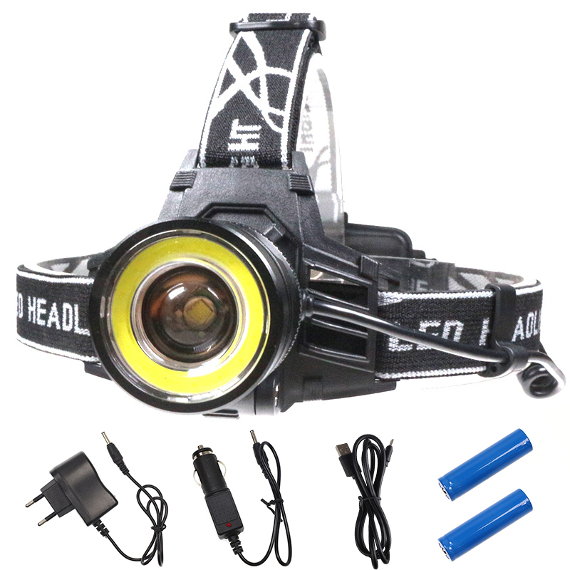 10000 lumen Led-scheinwerfer 4 Modi Zoomable Led-scheinwerfer Camping Kopf Taschenlampe CREE XM-L T6 + COB LED Jagd lichter Laterne