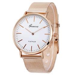 Reloj hombre Новый Женеве мужские часы Роскошные Брендовые женские Повседневная нержавеющей стали Кварцевые часы из металлической сетки все