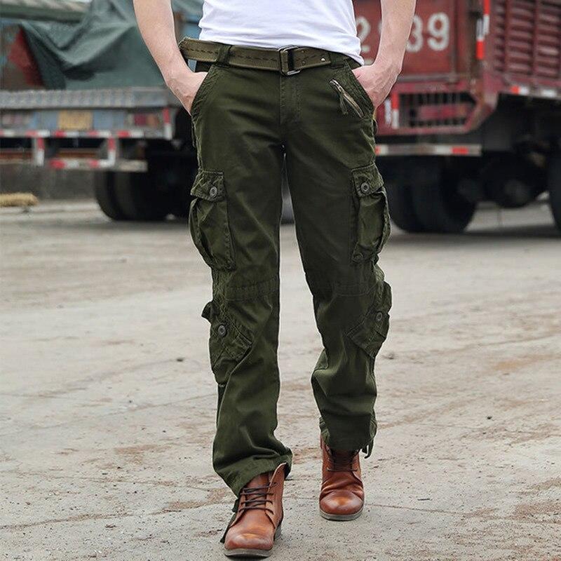 Мужские военные армейские камуфляжные штаны-карго плюс размер мульти-карманные комбинезоны повседневные мешковатые камуфляжные брюки муж...
