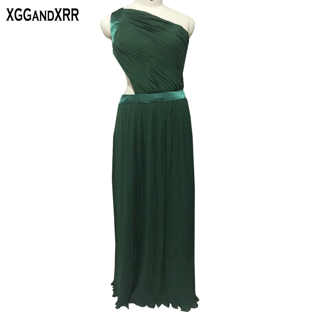 Hot Sale Green Chiffon A Line Bridesmaid Dresses 2018 One Shoulder Pleat Hollow Back Floor Length Prom Dresses For Formal Party