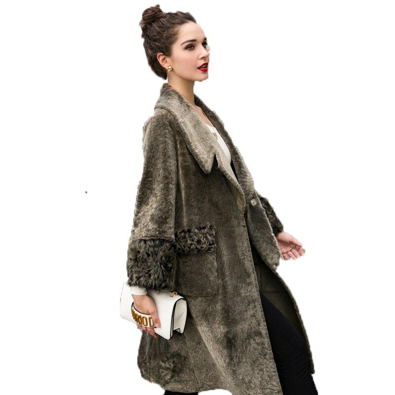 Real Fur Coat Autumn Winter Coat Women Clothes 2018 Korean Vintage Wool Jacket Lambswool Fur Coats Double-faced  Fur Tops ZT1069
