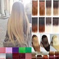 Long Natural Straight Hair One Piece 5 Clips In Hair Extensions 8 Colors Ombre Hair Pad braiding hair Real Smooth