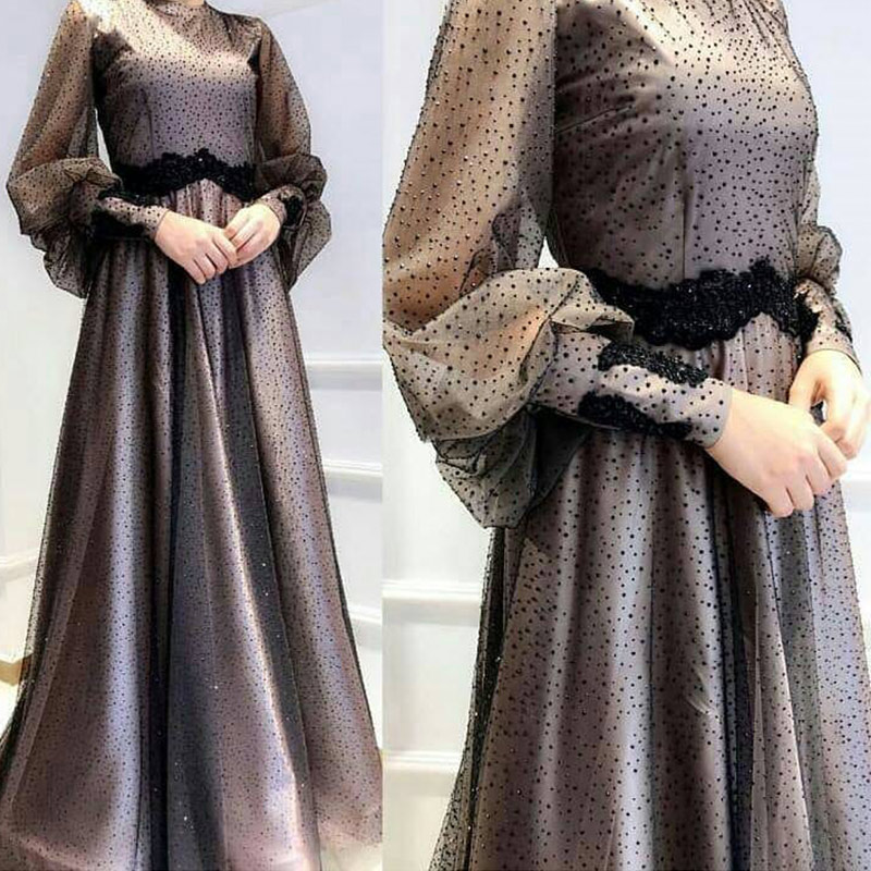 Muslim 2019 Points Black Champagne   Evening     Dresses   Long Sleeve Lace Prom   Dress   Formal Gowns Elegant For Women YW8023