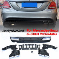 Autoleader 1Set Black/Red/Silver ABS Rear Bumper Diffuser Exhaust Muffler Tips Spoiler Sedan Bumper Guard For Benz C Class W205