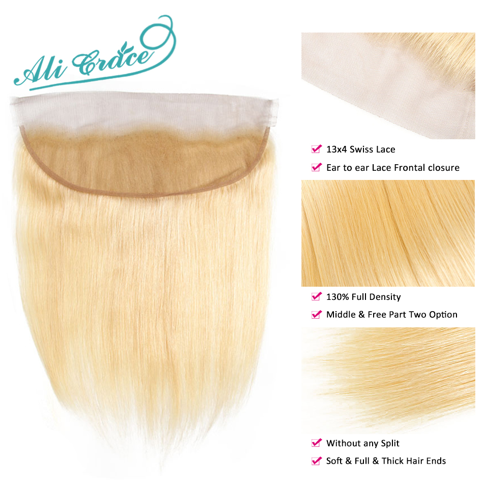 Image 3 - ALI GRACE Brazilian Straight 613 Blond 13x4 Lace Frontal Remy Ear to Ear Human Hair Frontal Can be dyed Free Shippping-in Closures from Hair Extensions & Wigs