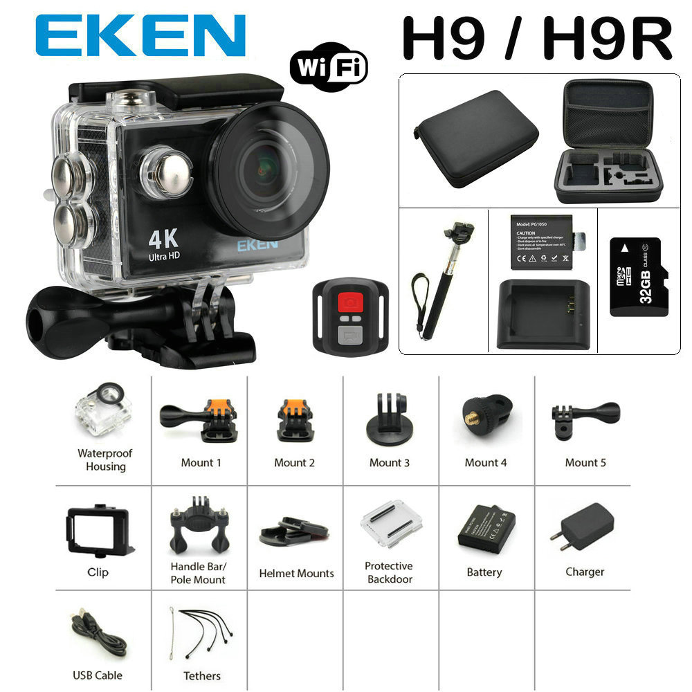New Arrival Bundle Action Camera 100% Original Eken H9/H9R Ultra HD 4K 30M Sport 2.0′ Screen 1080p FHD Go Waterproof Pro Camera