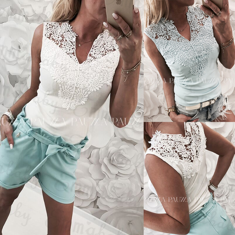 New Summer Women Clothes Lace Hollow Slim Casual Blouses Lady Sleeveless V-neck Sexy Shirt Tops White Light Blue(China)