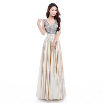 Beauty Emily New V-Neck Beads Bodice Open Back A Line Long Evening Dress Party Elegant Vestido De Festa Fast Shipping Prom Gown - DISCOUNT ITEM  30% OFF All Category
