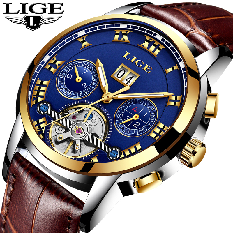 LIGE Watches Men Sport Men's Mechanical Watches Fashion Business Automatic Watch Man Waterproof Leather Clock relogio masculino unique smooth case pocket watch mechanical automatic watches with pendant chain necklace men women gift relogio de bolso