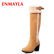 ENMAYER High quality new Pointed Toe Snow Boots Buckle fashion winter boots for women long boots big size 34-43 enmayer hot quality winter womens boots genuine leather high boots new flats heels shoes women boots big size 34 43 knight boots