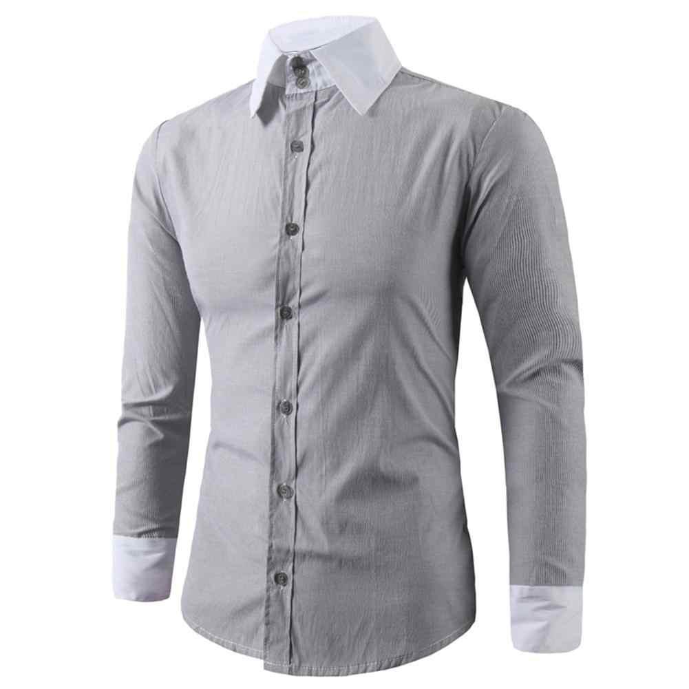 2019 新男性ファッションカジュアル長袖固体シャツスリムフィット男性社会ビジネス男性服ソフトで快適な