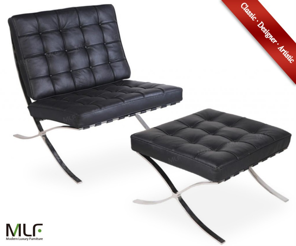 Outstanding Mlf Barcelona Chair Ottoman Black Italian Leather High Gmtry Best Dining Table And Chair Ideas Images Gmtryco