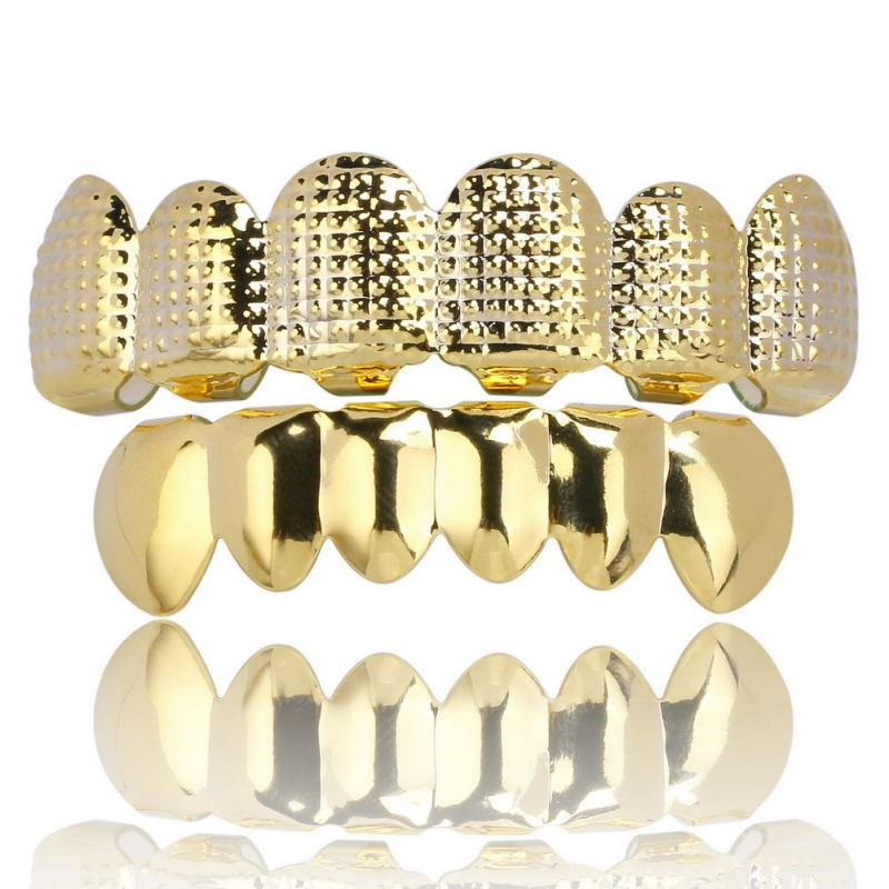 Denture Care Gold Plated Teeth Lattice Shape Hip Hop Rapper's Bling Teeth Golden Plating Texture Bump Top & Bottom Grill Set