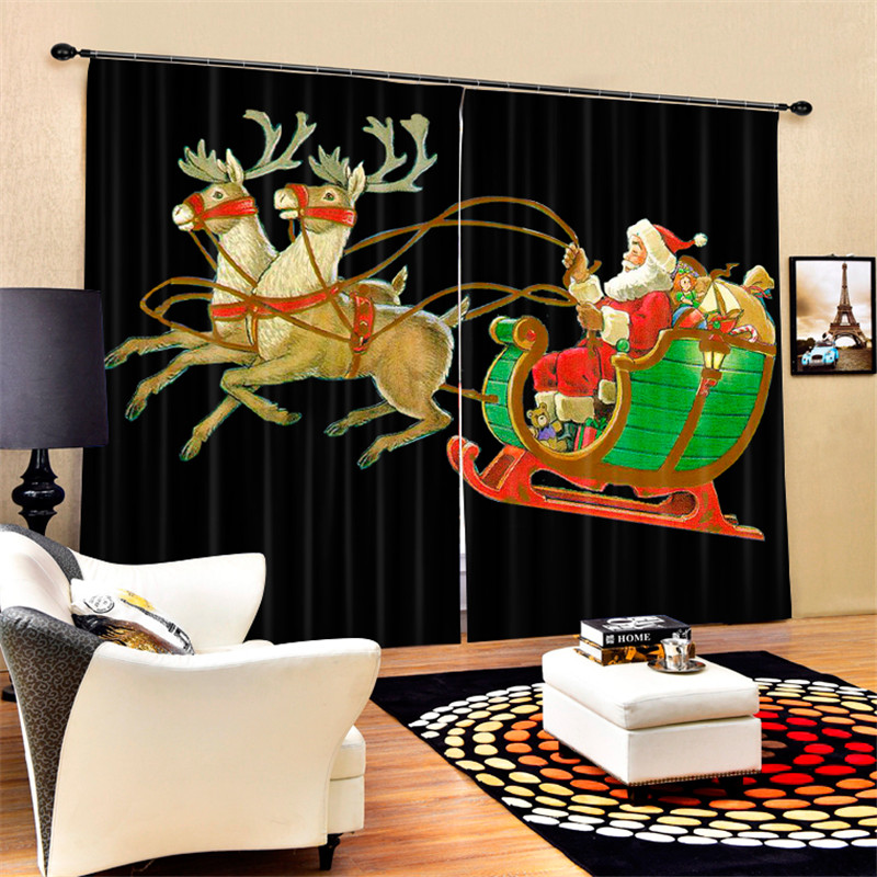 Luxury 3D Curtains Drapes For Bed room Living room Office Hotel Cortinas Santa Claus black Blackout Shade Window CurtainsLuxury 3D Curtains Drapes For Bed room Living room Office Hotel Cortinas Santa Claus black Blackout Shade Window Curtains