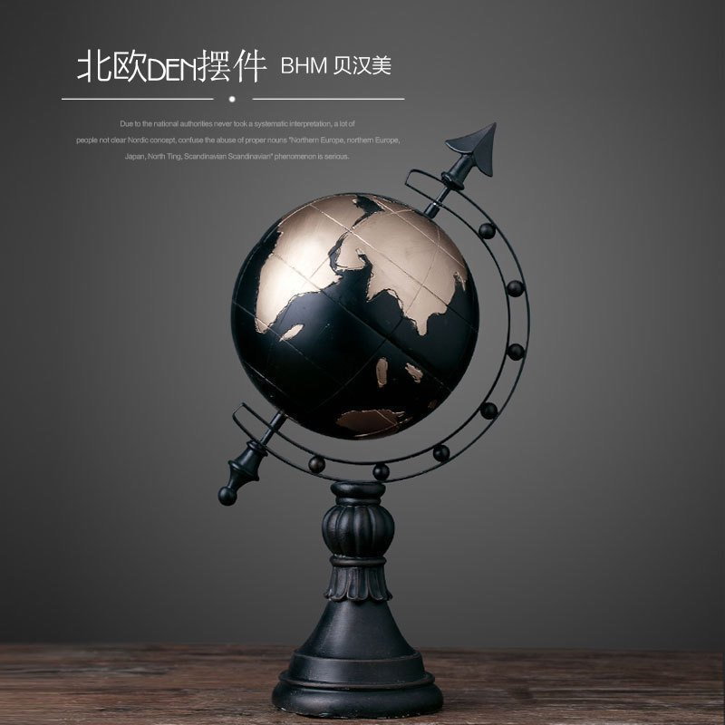Europe Creative Resin Globe Figurines Bar Vintage Statue Home Decor Crafts  Room Decoration Objects Office Retro Model Figurines