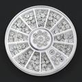 24 Pcs 4mm Acrílico Glitters Pregos Da Arte Do Prego Adesivos DIY Manicure Dicas Rhinestone Decoração Roda