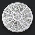 24Pcs 4mm Acrylic Glitters Studs Nail Art Stickers DIY Manicure Tips Rhinestone Decoration Wheel