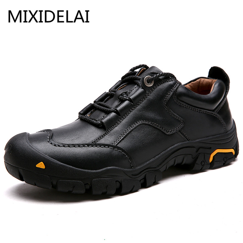 MIXIDELAI Durable Mens Safety Shoes Genuine Leather Oxford Shoes Waterproof Casual Shoes For Men Comfortable Work Sneakers Male