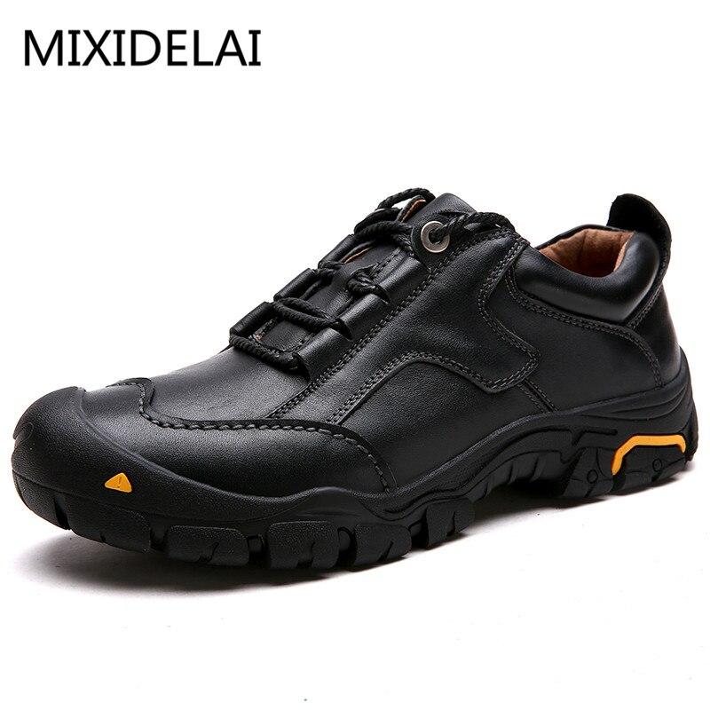 MIXIDELAI Durable hommes chaussures de sécurité en cuir véritable Oxford chaussures imperméables chaussures décontractées pour hommes confortable travail baskets homme