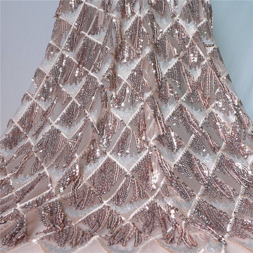 2018 Upscale African Net Champagne Sequins Lace Tissu High Quality French Tulle Lace Wedding Nigeria fabric 1 Yard-in Lace from Home & Garden
