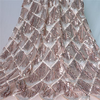 2018 Upscale African Net Champagne Sequins Lace Tissu High Quality French Tulle Lace Wedding Nigeria fabric 1 Yard