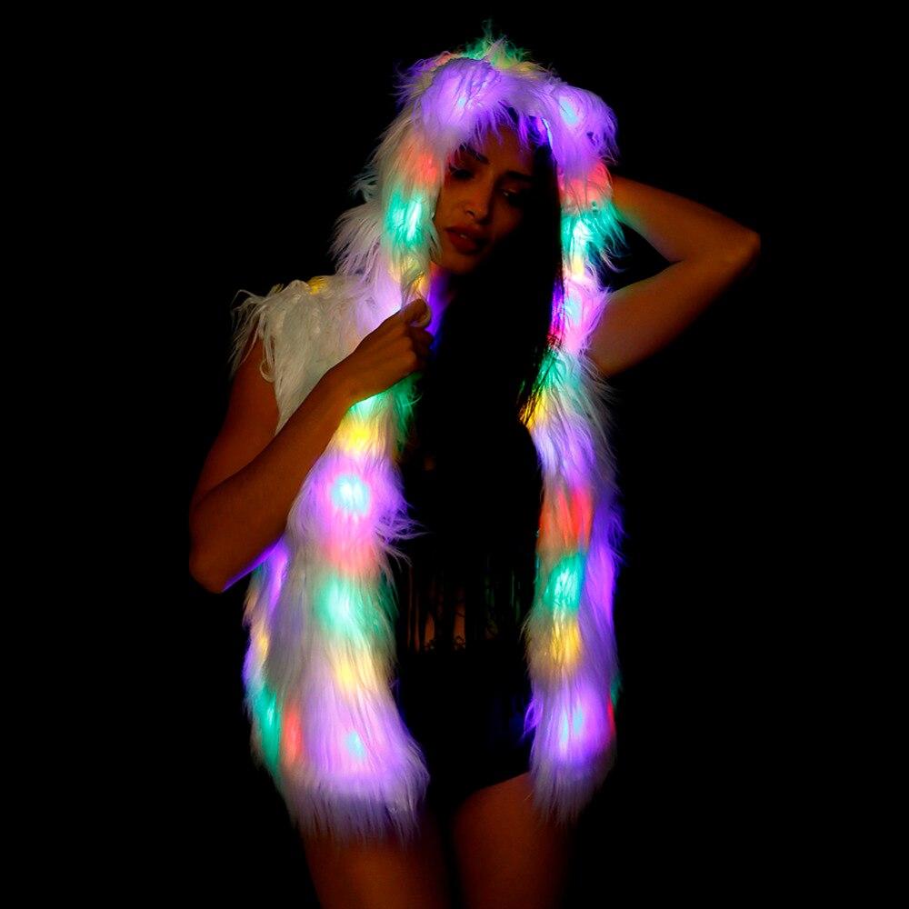Ohlees Halloween Fourrure Lumière Veste Up Hiver Adulte Homme Party Fausse En Led Manteau Outwear Costume SwCSqrv