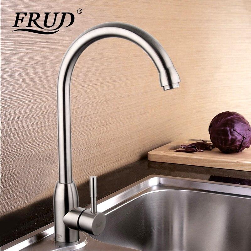 Frud Haute Qualité 304 en acier inoxydable sans plomb Cuisine évier Robinet évier Robinet 360 Pivotant Mélangeur de Cuisine chaude et froide robinet R41052