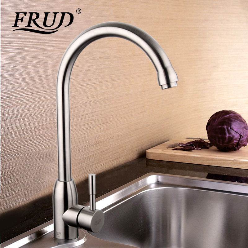 Frud High Quality 304 Stainless Steel No Lead Kitchen Sink Faucet Sink Tap 360 Swivel Mixer Kitchen Hot And Cold Faucet R41052