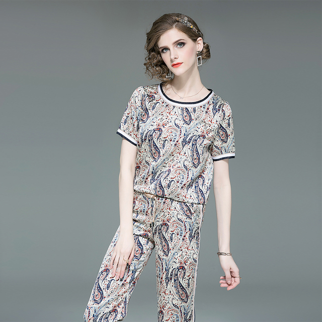 100% Real Silk Vintage Suit Women Summer Two Pieces Set Printed O-Neck suits 2019