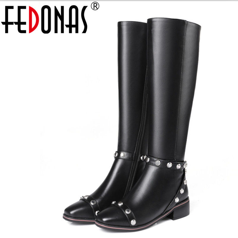 FEDONAS Women Genuine Leather Boots Rivets Square Heels Autumn Winter Knee High Boots Women Sexy Martin Snow Boots Shoes Woman high quality genuine leather square heels martin boots for women round toe platform winter rhinestone snow martin boots