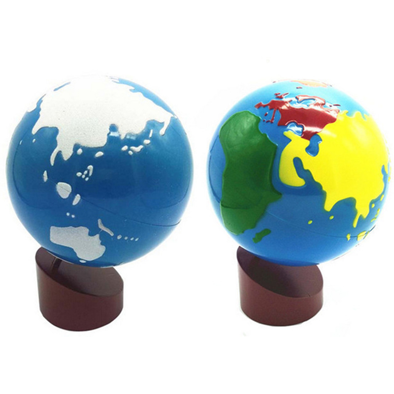 Baby Toys Montessori Teaching Aids Colors Wooden Globes Land And Water Globes Early Educational Toys For Children Gift