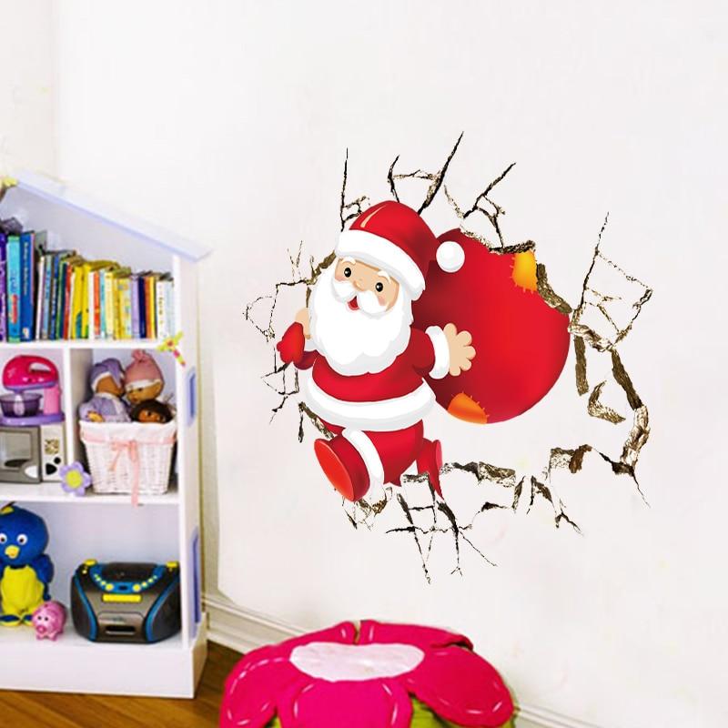 Christmas decor santa claus through wall to send gift wall for Christmas wall mural