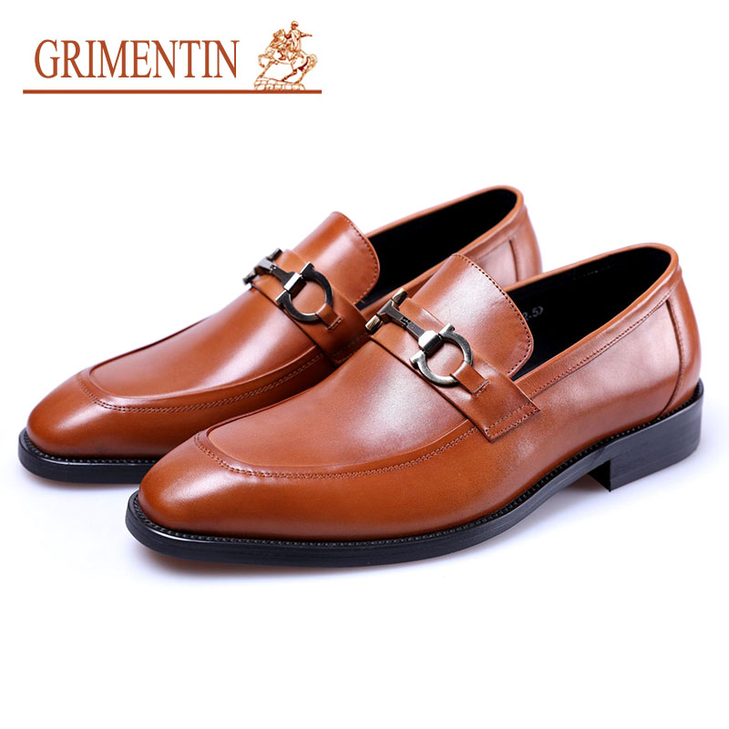 Grimentin Men Dress Shoes Luxury Designer Formal Business Wedding Shoes Genuine Leather Slip On цена 2017