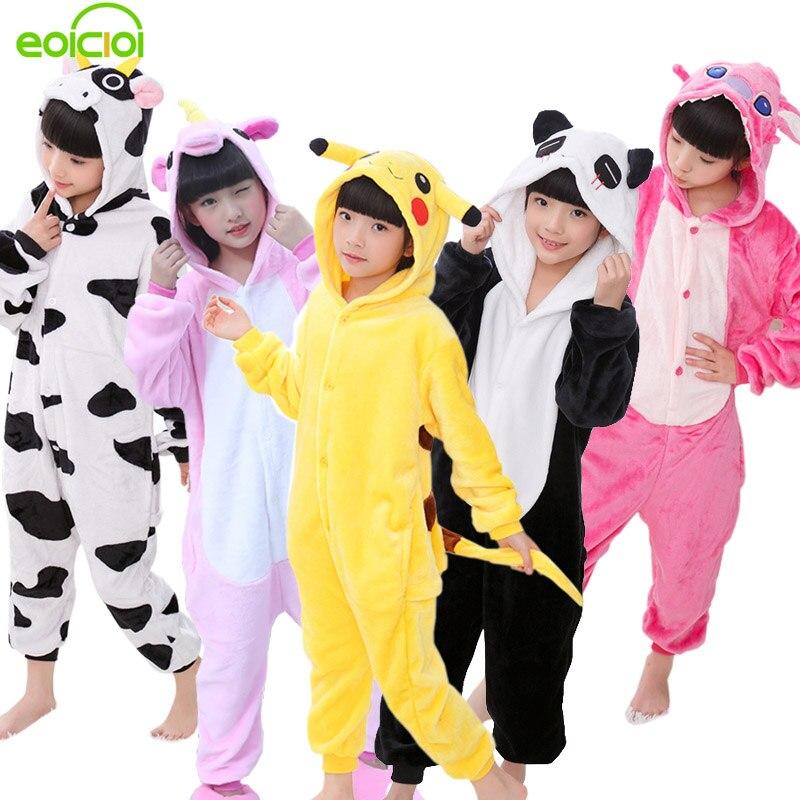 Eoicioi 2018 New Flannel Baby Boys Girls Pajamas Animal