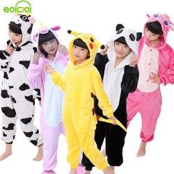 EOICIOI New Flannel Baby Boys Girls Pajamas Sets Animal Unicornio Stitch Dinosaur Panda Pyjamas Kids Sleepwear cosplay Onesie