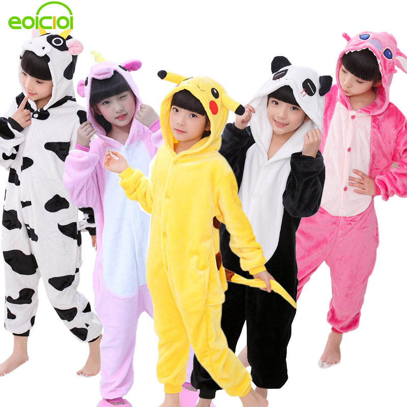EOICIOI New Flannel Baby Boys Girls   Pajamas     Sets   Animal Unicornio Stitch Dinosaur Panda Pyjamas Kids Sleepwear cosplay Onesie