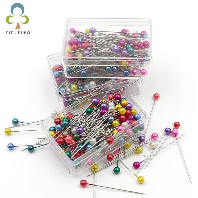 Broche de positionnement pour la couture à la main, boîte de perles de couleur, boîte de perles rondes d'aiguille GYH, 100 pièces = 1 boîte